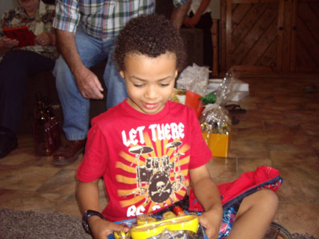 JJ opening a present