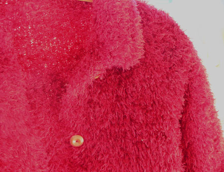 Red fluffy cardigan