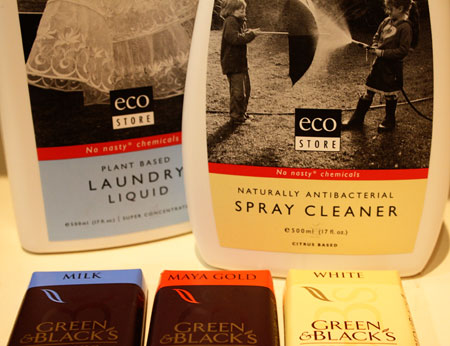 EcoStore cleaning products and Green & Blacks organic chocolate