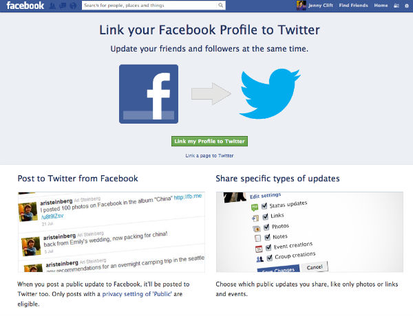 unlink facebook and twitter