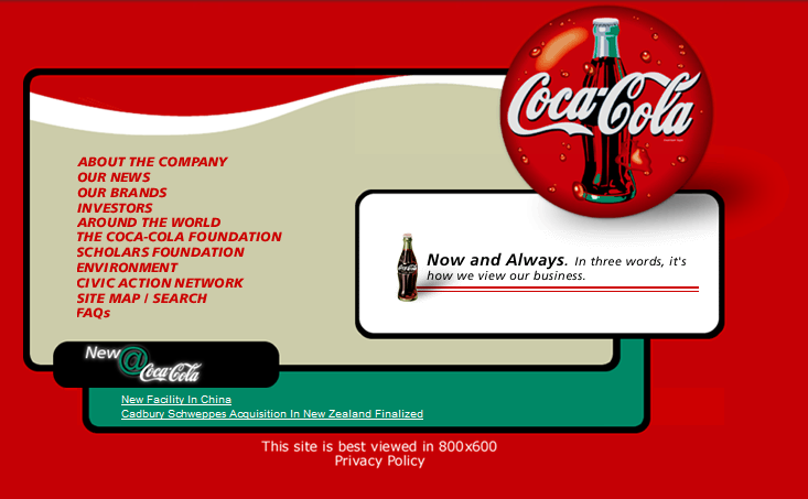 Coca-cola website, 1990s