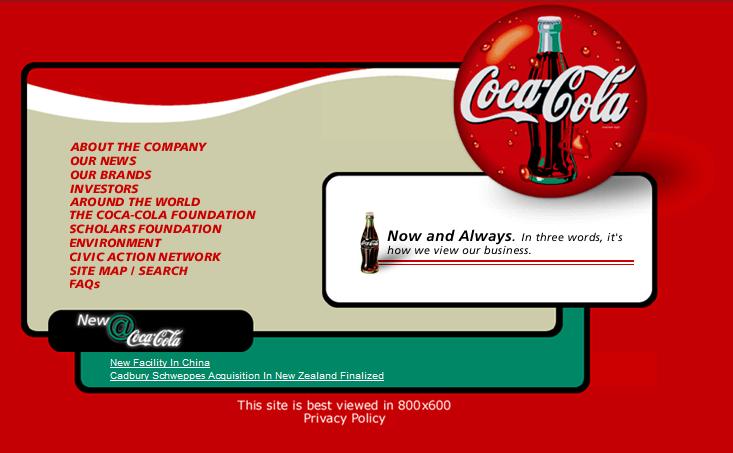 Coca-cola website, 1990s