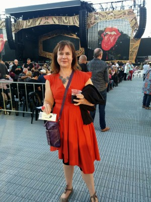 Frocktober day 25 At the Rolling Stones concert at Adelaide oval, wearing a Morrison dress I bought for $50 on sale (down from $600).